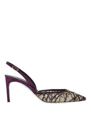 Rene Caovilla: court shoes - Slingback pumps with rhinestones