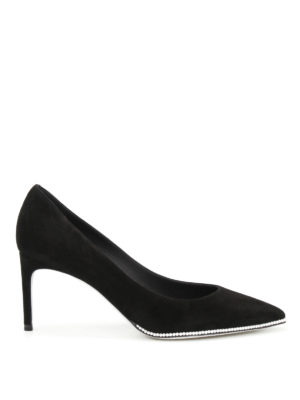 Rene Caovilla: court shoes - Suede pumps with small pearls