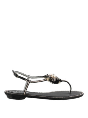 Rene Caovilla: flip flops - Jewel satin leather thong sandals