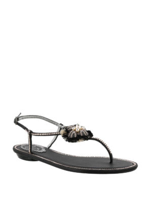 Rene Caovilla: flip flops online - Jewel satin leather thong sandals