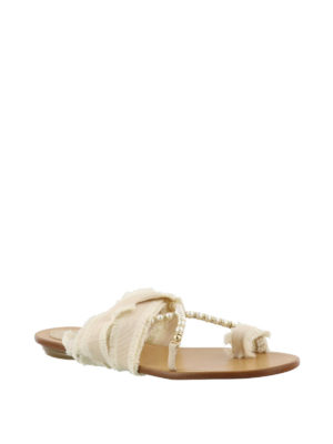 Rene Caovilla: flip flops online - Ribbon and pearl flat thong sandals