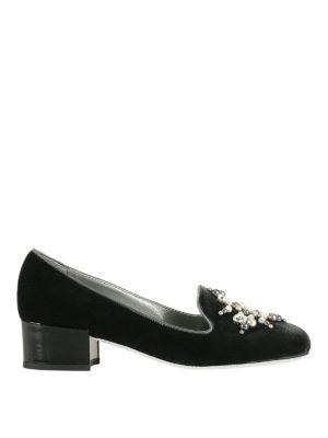 Rene Caovilla: Loafers & Slippers - Jewel velvet heeled slippers