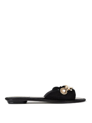 Rene Caovilla: sandals - Embellished suede thong sandals