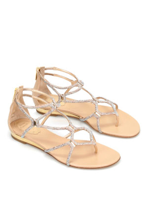 Rene Caovilla: sandals online - Cage design jewel flat sandals