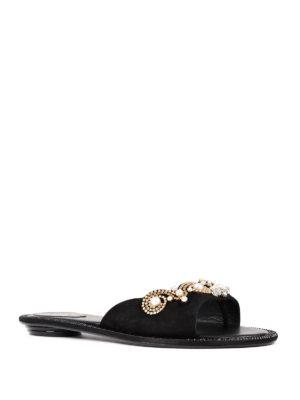 Rene Caovilla: sandals online - Embellished suede thong sandals