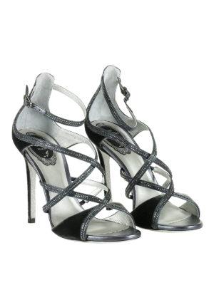 Rene Caovilla: sandals online - Rhinestones trimmed velvet sandals