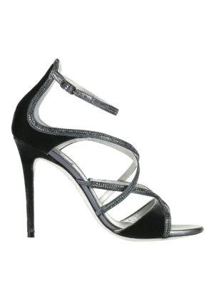 Rene Caovilla: sandals - Rhinestones trimmed velvet sandals