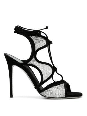 Rene Caovilla: sandals - Scalloped cage design suede sandals