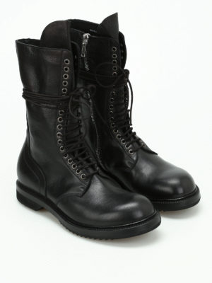 Rick Owens: boots online - Army leather booties