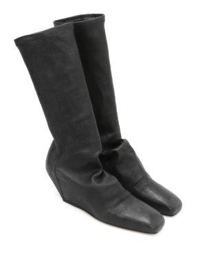Rick Owens: boots online - Stretch leg leather boots