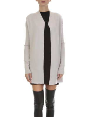 Rick Owens: cardigans online - Rib knitted cashmere blend cardigan