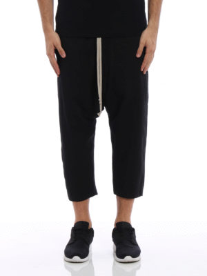 Rick Owens: casual trousers online - Glitter cropped drawstring trousers