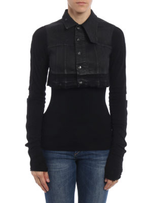 Rick Owens: denim jacket online - Waxed denim crop jacket