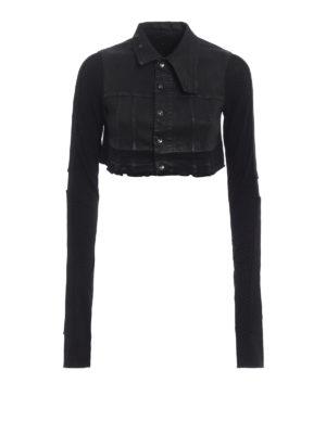 Rick Owens: denim jacket - Waxed denim crop jacket