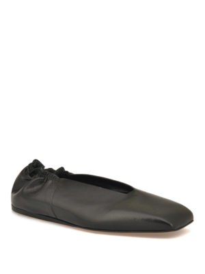 Rick Owens: flat shoes online - Geo leather ballerinas