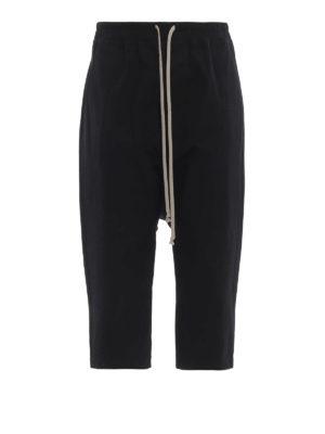 RICK OWENS HUN: pantaloni casual - Pantaloni in tessuto rigiro con coulisse