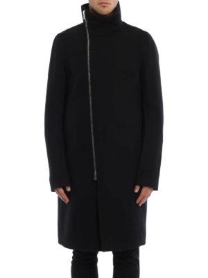 Rick Owens: knee length coats online - Tubeway wool blend coat