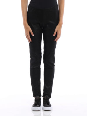 Rick Owens: leather trousers online - Shimmering leather leggings