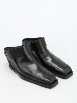 Rick Owens: mules shoes online - Strap leather mules