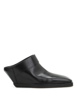 Rick Owens: mules shoes - Strap leather mules