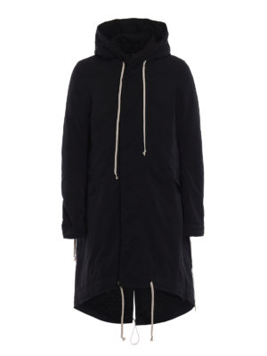 Rick Owens: padded coats - Fishtail DRKSHDW hooded long parka
