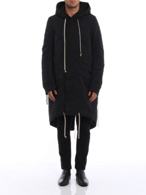 Rick Owens: padded coats online - Fishtail DRKSHDW hooded long parka