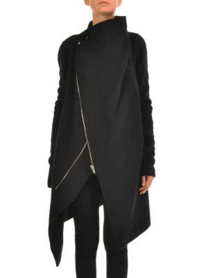 Rick Owens: short coats online - Cashmere zipped coat