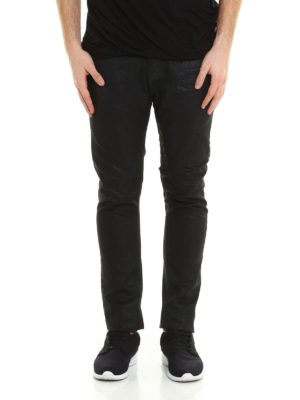 Rick Owens: straight leg jeans online - Torrence coated cotton jeans
