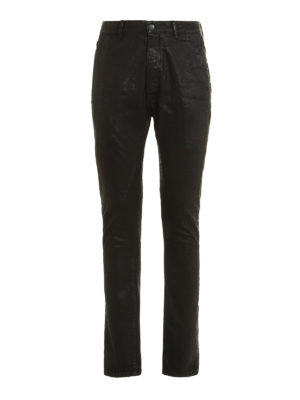 Rick Owens: straight leg jeans - Torrence coated cotton jeans