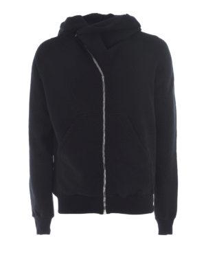 Rick Owens: Sweatshirts & Sweaters - Asymmetric zip cotton hoodie