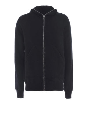 Rick Owens: Sweatshirts & Sweaters - Black cotton zipped hoodie