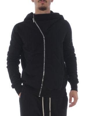 Rick Owens: Sweatshirts & Sweaters online - Asymmetric zip cotton hoodie