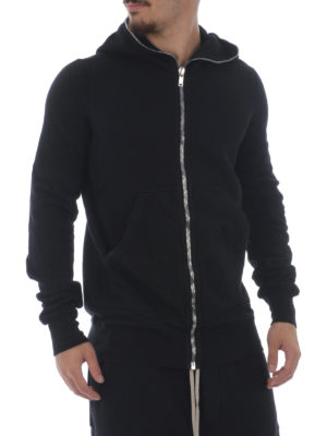 Rick Owens: Sweatshirts & Sweaters online - Black cotton zipped hoodie