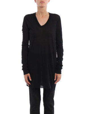 Rick Owens: t-shirts online - Sheer cotton long sleeves T-shirt