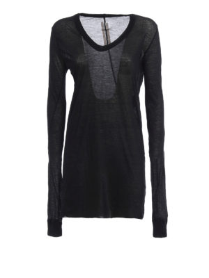 Rick Owens: t-shirts - Sheer cotton long sleeves T-shirt
