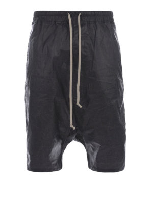 Rick Owens: Trousers Shorts - Coated cotton shorts