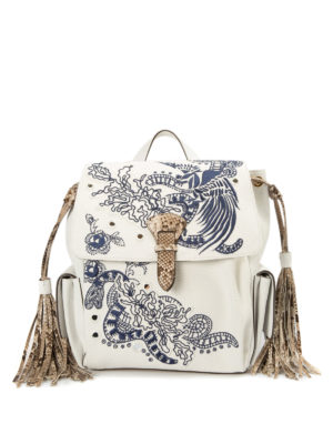 Roberto Cavalli: backpacks - Suede and canvas small backpack