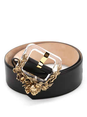 Roberto Cavalli: belts - Plexi Blossom leather belt