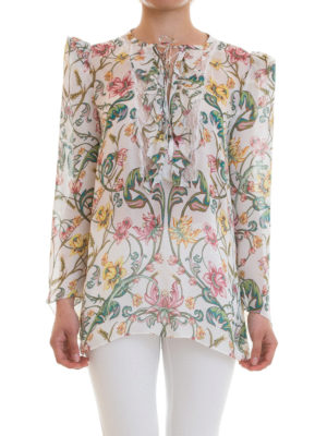 Roberto Cavalli: blouses online - Ruched floral silk blouse