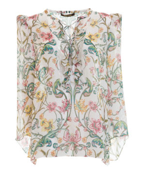 Roberto Cavalli: blouses - Ruched floral silk blouse