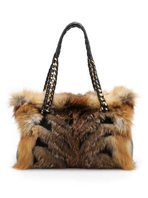 Roberto Cavalli: bowling bags - Fox fur bowler bag