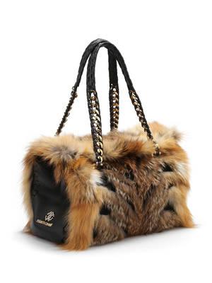 Roberto Cavalli: bowling bags online - Fox fur bowler bag