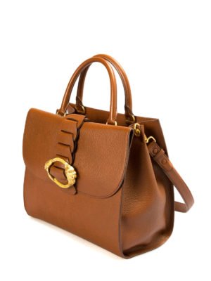 Roberto Cavalli: bowling bags online - Hammered leather bowling bag