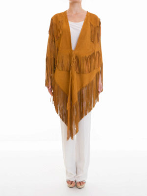 Roberto Cavalli: Capes &  Ponchos online - Fringed suede cape