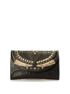 Roberto Cavalli: clutches - Embellished leather clutch