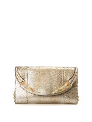 Roberto Cavalli: clutches - Embellished python leather clutch