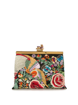 Roberto Cavalli: clutches - Embroidered satin jewel clutch