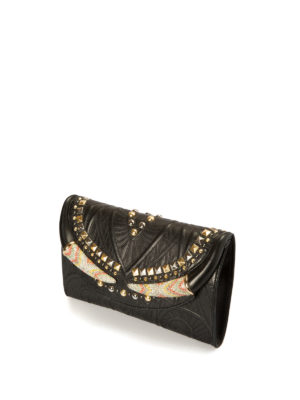 Roberto Cavalli: clutches online - Embellished leather clutch
