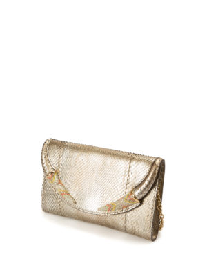 Roberto Cavalli: clutches online - Embellished python leather clutch