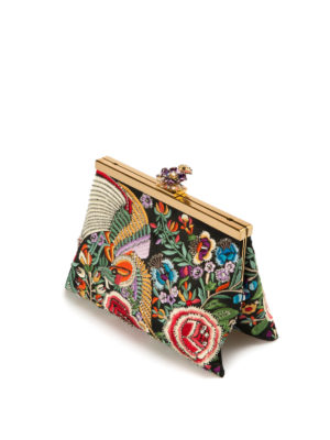 Roberto Cavalli: clutches online - Embroidered satin jewel clutch